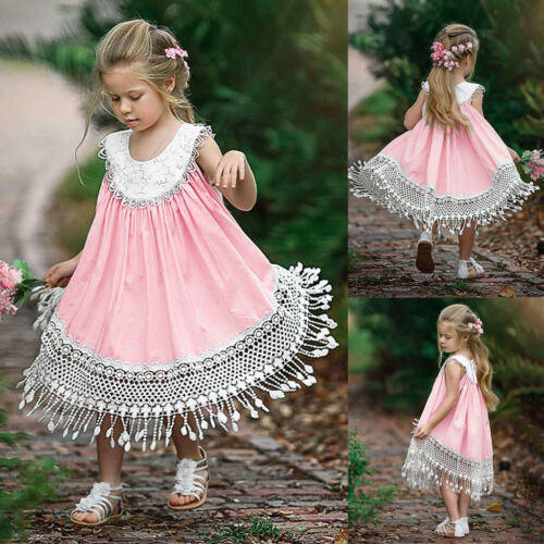 Toddler Baby Girl Ruffles Floral Patchwork Lace Sundress Holiday Party Dress