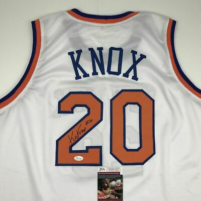 hot sale online a4c75 11486 Autographed/Signed KEVIN KNOX New York White Basketball ...