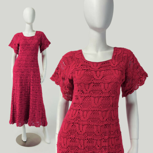 Vintage 60s 70s Crochet Maxi Dress BOHO Butterfly