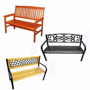 Garden-Bench-2-3-Seater-Wooden-Metal-Legs-Outdoor-Home-Patio-Furniture-Lattice