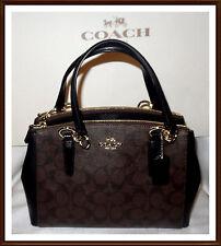 NWT $350 Coach Signature Leather Mini Christie Carryall Bag BROWN BLACK RECEIPT
