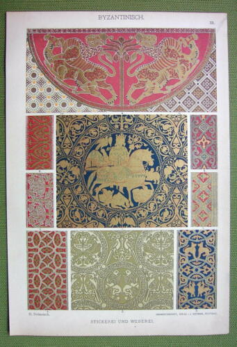 BYZANTINE Weaving /& Embroidery Fabrics Vienna Rome 1880s Color Litho Print