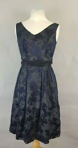 Monsoon-Blue-Sheer-Patterned-Silk-Blend-Fit-and-Flare-Evening-Party-Dress-UK-8