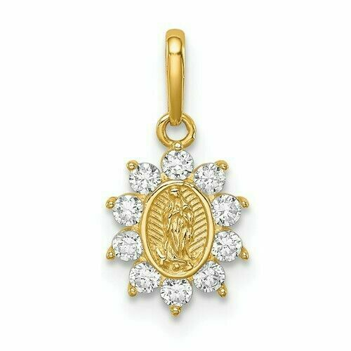 14k REAL Yellow Gold Religious Our Lady of Guadalupe CZ Charm Pendant