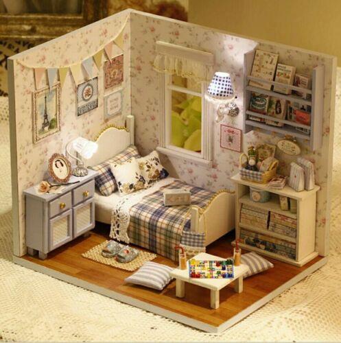 Dollhouse Miniature À faire soi-même Bleu Chambre à coucher avec meubles échelle 1:24