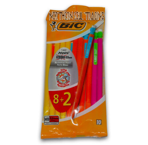 BIC MATIC STRONG 0.9MM HB MECHANICAL PENCILS *RETAIL SEALED PACK OF 10 PENCILS*