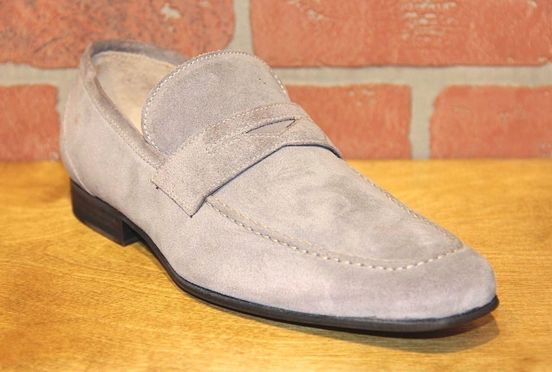 Calzoleria Toscana Men's Slip On Grey Suede Hand Craft Loafer shoes 6903