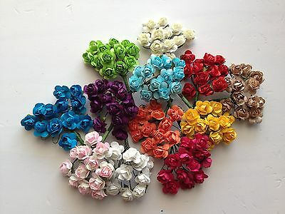 144 ROSE Flower lot MULBERRY Paper Wedding Card Embellishment Craft scrapbooking