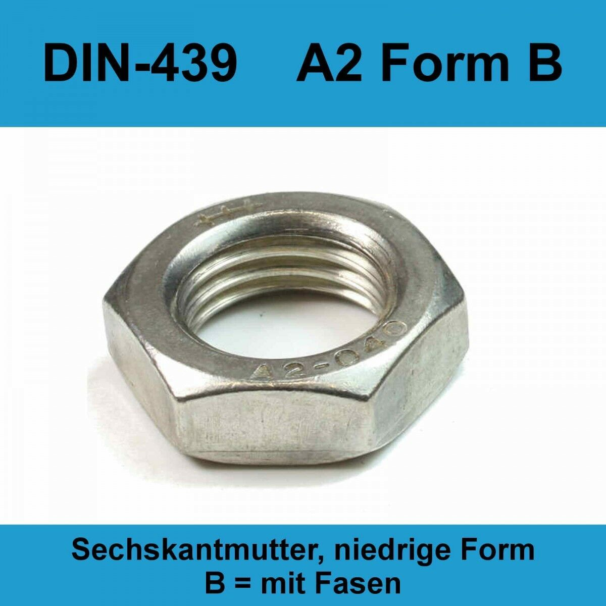 M12 DIN 439 A2 Edelstahl Sechskantmuttern flache niedrige Form Rostfrei 20-500St  | Langfristiger Ruf