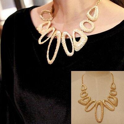 Fashion Women Vintage Gold Bib Statement Collar Necklace Chain Chunky Choker