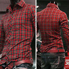 Stylish Mens Luxury Casual Slim Fit Stylish Dress Shirts Long Sleeve Plaid Shirt