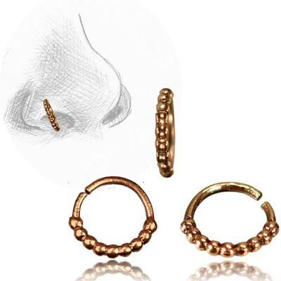 20G TRIBAL BRASS NOSE RING 7MM RING NOSE STUD HELIX FAUX WHITE OPAL STONE HOOP