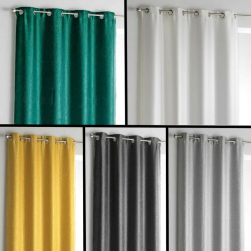 Shadow Embossed Blackout Eyelet Single Curtain Panel 5 Colours 280cm Long Drop
