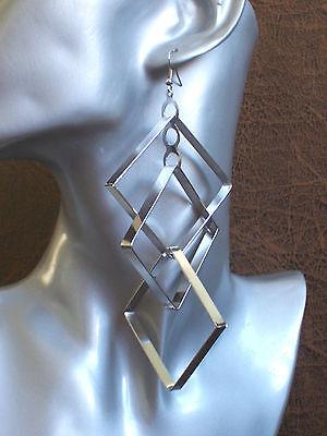 "Drag Queen XXL Silver CLIP-ON earrings 6/"" long Transvestite Interest"