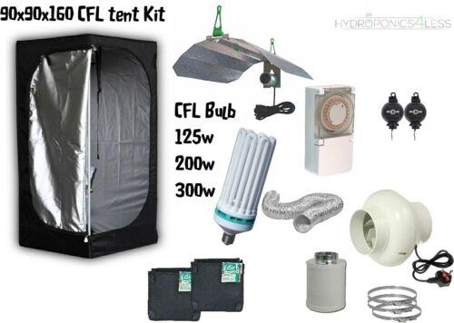 Complete CFL Hydroponic Grow Room Wardrobe Tent Fan Filter Light Kit 90x90x160cm