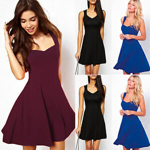 Armellos-Damenmode-Cocktailkleid-Party-Minikleid-Abendkleid-Sommer-Skater-Kleid