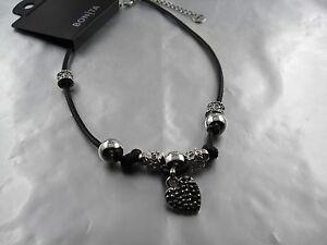 Fine-Marcasite-Look-Heart-Necklace-TL-40-45-cm-Brand-Bonita-Black-Silver