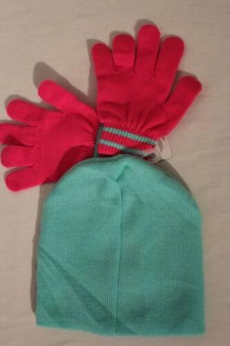 NEW Girls Beanie Hat Gloves 2 Piece Set Acrylic Knit Cap Pastel Green Pink Owl