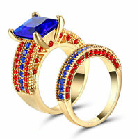 Blue Sapphire Wedding Ring Set Pave CZ Band Womens Gold Rhodium Plated Size 8