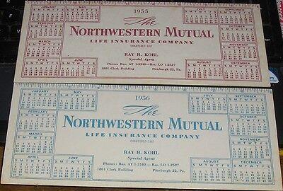 Vtg 1955 1956 Northwest Mutual Life Insurance Calendars Ruler Ray Kohl PGH Ad
