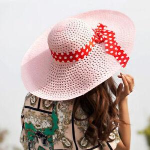 02b264e301108 Women Lady Beach Hat Wide Brim Floppy Sun Straw Hat Cap Derby Summer ...