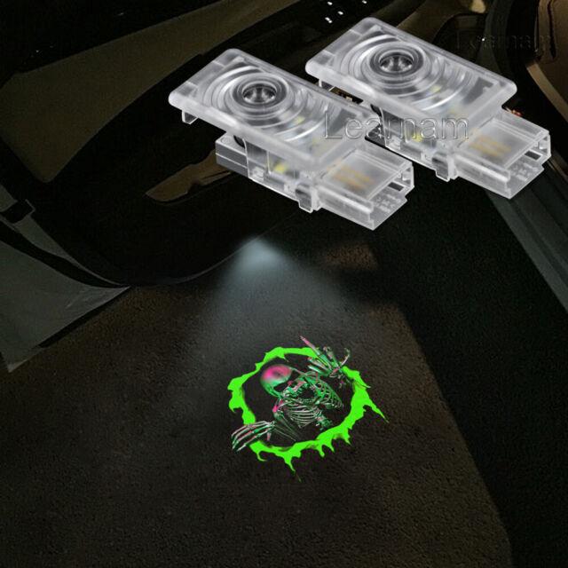 2x Green Skull Logo Door LED Laser Projector Shadow Light