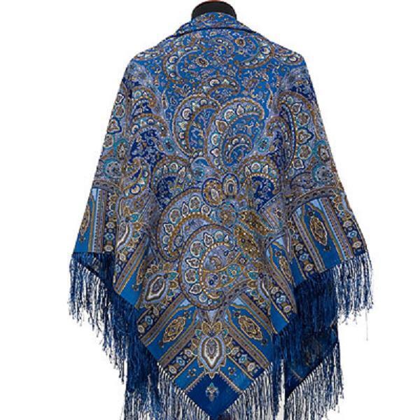Pawlow Posad russischer Schal-Tuch Folklore Tradition 125x125 Wolle 598-57