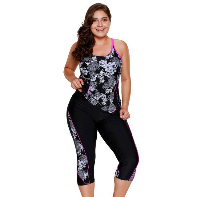 ZKESS Womens Plus Size Sleeveless Capri Pant Swimwear Swim Legging Rash Guard