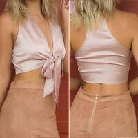 Hot&Sexy Women Casual Summer V Neck Sleeveless Cami Vest Tops Crop Tank Silk Top