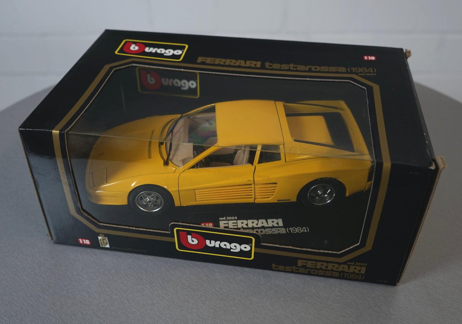 Burago 1 18  Ferrari 250 Testarossa (1984) jaune 3004 Die-Cast Modellauto NEU OVP  nouveau sadie