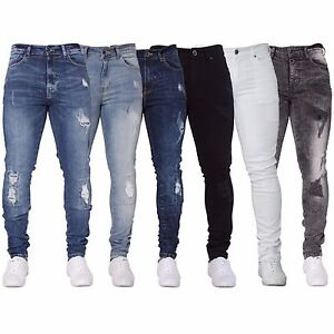 New-ENZO-Mens-Skinny-Super-Stretch-Fit-Ripped-Denim-Jeans-All-Waist-Blue-Black