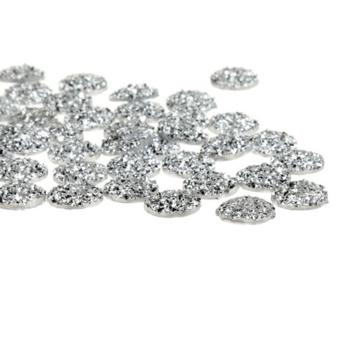 50x Flatback Resin Round Stone Beads Rhinestone For DIY Wedding Decor Silver