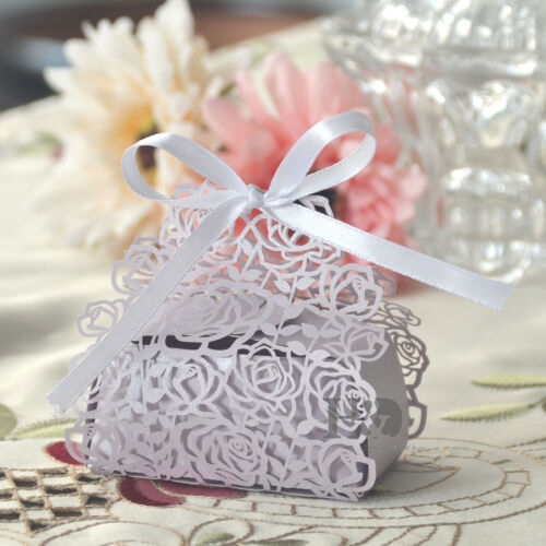 Lilac Rose Laser Cut Cake Candy Gift Boxes with Ribbon Wedding Favor Baby Boxes