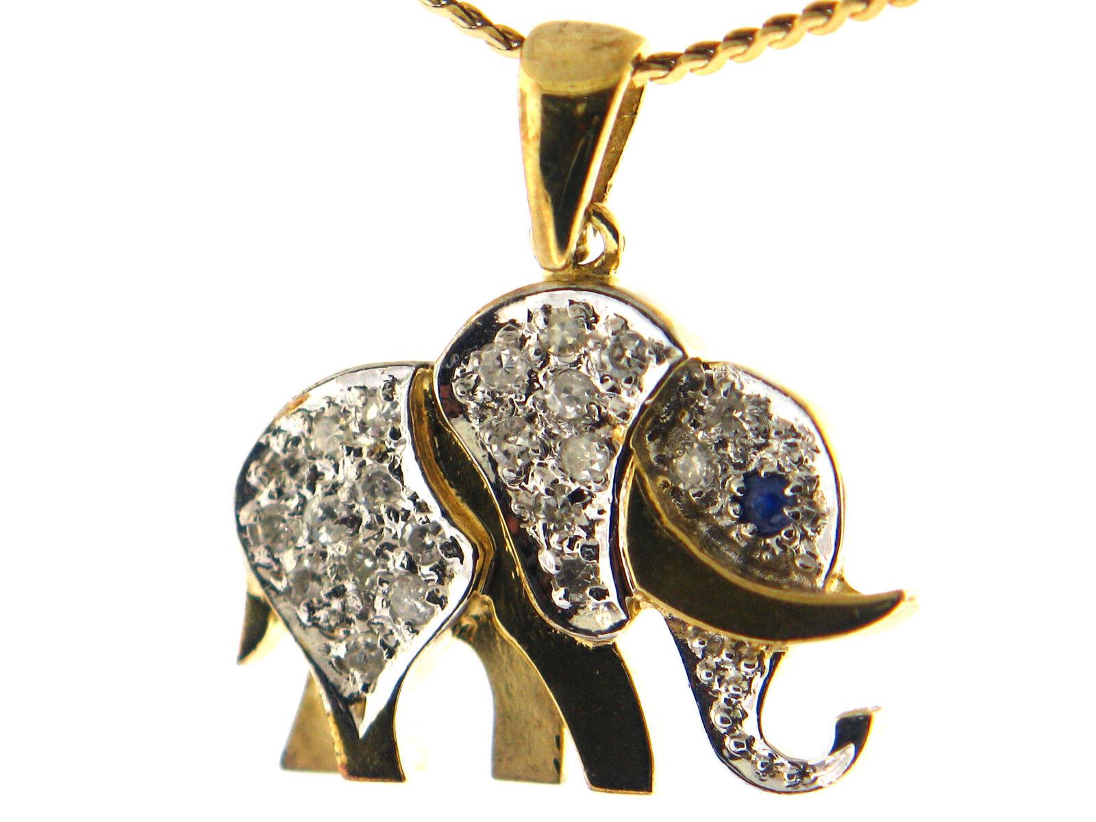 0.22 CT Natural Round Cut Diamond Elephant Pendant VS2  F 14K Yellow gold
