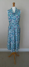 Fab Alex & Co White Green & Purple Print Silky Dress Size 12 Perfect Mad Men