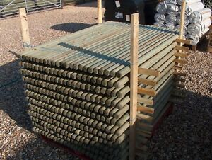 Details About 20 X Wooden Treated Fence Posts Or Tree Stakes 12m 4ft X 50mm Dia Fencing