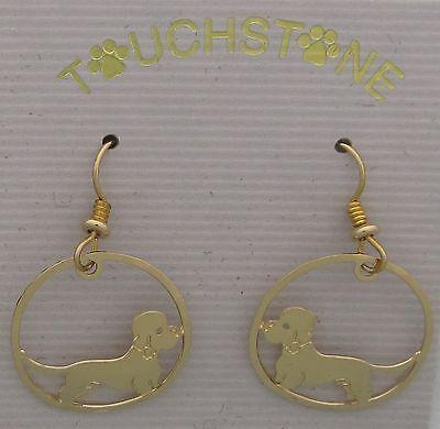 Dandie Dinmont Terrier Jewelry Gold Dangle Earrings by Touchstone