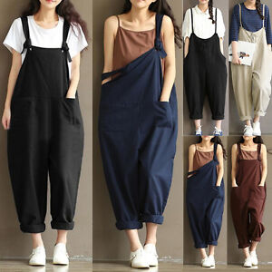 9ec330ee2661 Image is loading Hot-Women-Loose-BIB-Pants-Overalls-Straps-Jumpsuit-