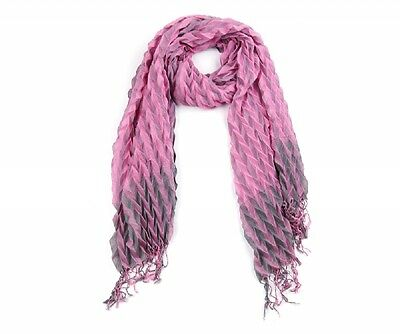 Reduced £8.99!  New Striking Pink and Grey Pleat Long Scarf on Soft Touch Fabric