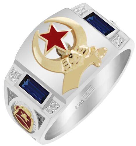 New Men/'s Two-Tone Shriner Customizable Freemason Solid Back Ring