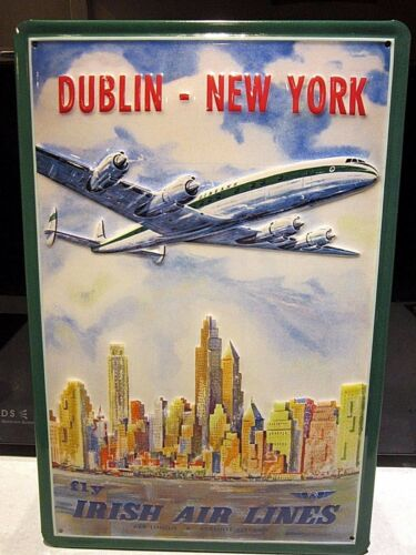 3D METAL ADVERTISING SIGN 30x20cm DUBLIN TO NY :EMBOSSED IRISH AIR LINES