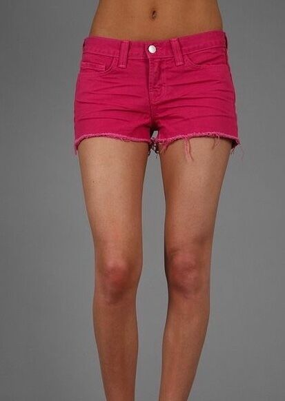 J BRAND PINK DENIM BOYFRIEND SHORTS W26