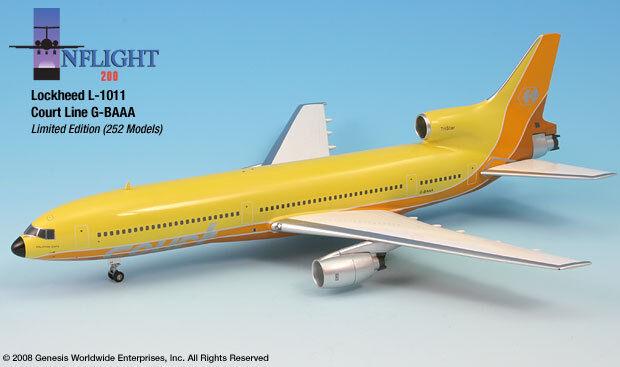 Inflight200 courtline giallo g-baaa Lockheed L1011 tristar1 200 Escala Diecast