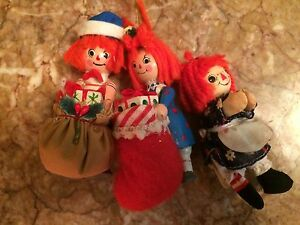 Vintage raggedy Ann Andy wooden Christmas tree ornaments 1981 bobbs Merrill 3