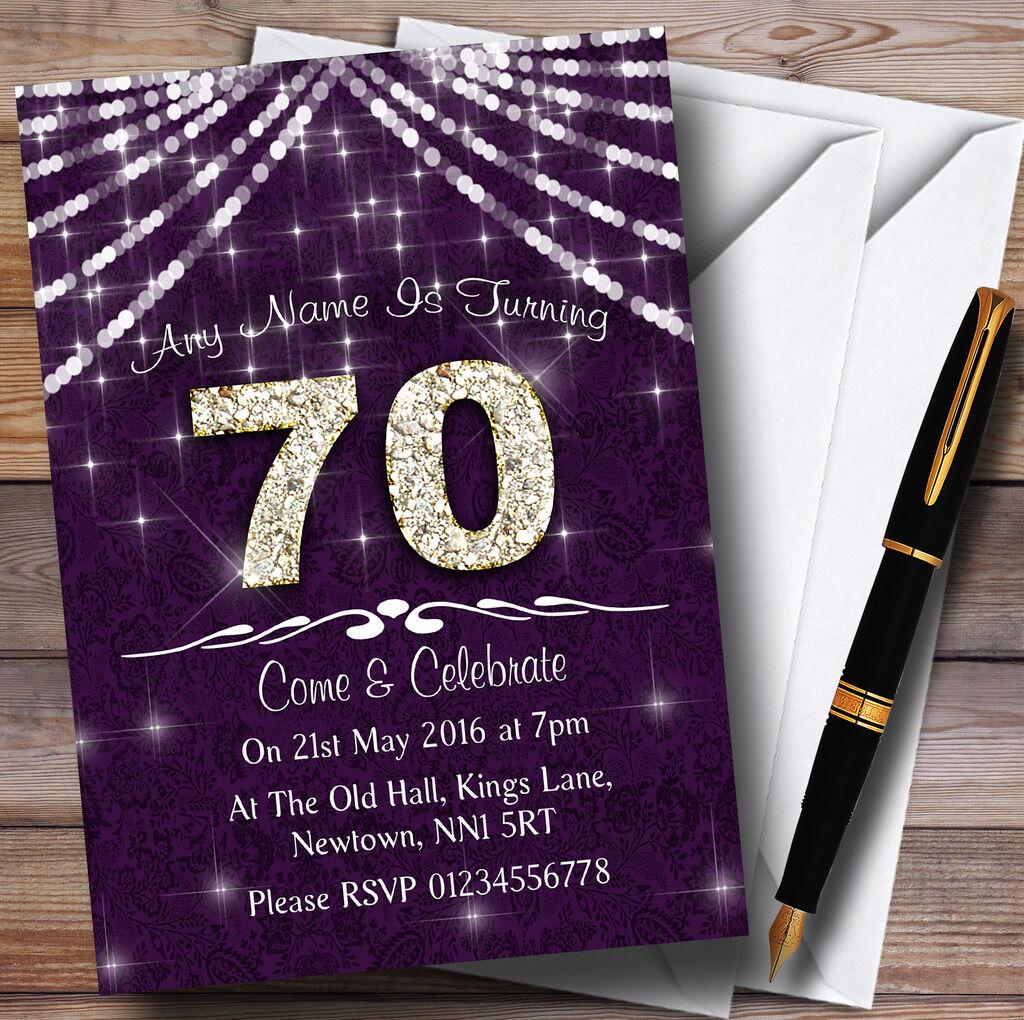 70º viola & bianca Bling Sparkle Festa di Compleanno Compleanno Compleanno Inviti Personalizzati 322555