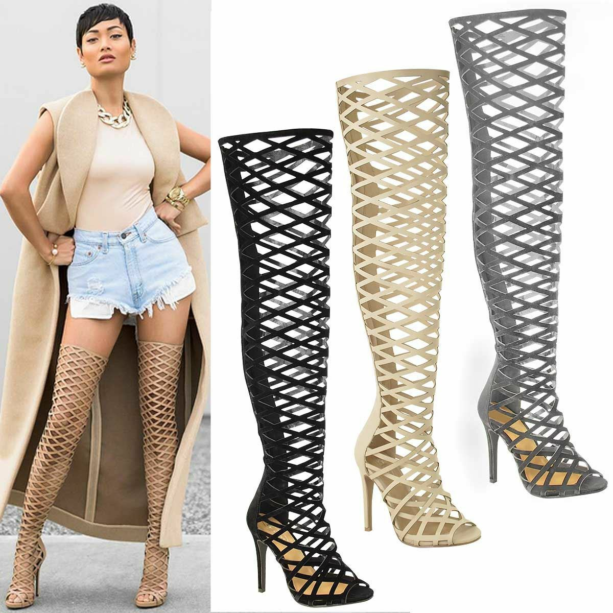 LADIES Damenschuhe CUT OUT OVER THE KNEE THIGH HIGH STILETTO HEELS BOOTS SANDALS SIZE