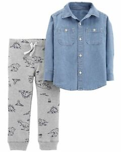 3a853f863 NWT Carter's 12 Months 2 Piece Boys Outfit Set Chambray Blue Top ...