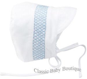 238d4042cc2 NWT Feltman Brothers Bros White Blue Smocked Baby Bonnet 6 9 M Boys ...