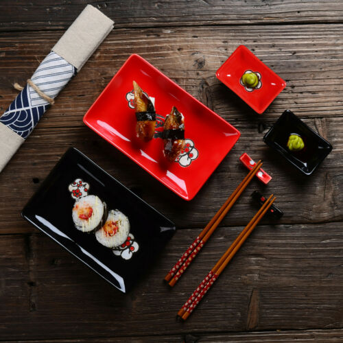 Panbado Porcelain Sushi Set Plate Dip Bowl Stick Stand Chopstick Red/&Black for 2
