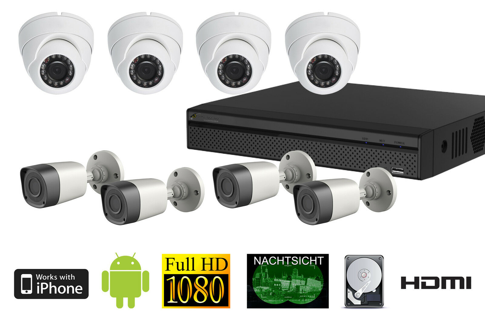 8 Kanal Full HD Set DVR 2TB 30m Nachtsicht Smartphone ÜberwachungsApp